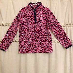 OshKosh Navy Pink Print Pullover Fleece Size 8